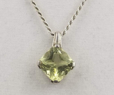 Beautiful, lemon citrine pendant on a sterling silver necklace.