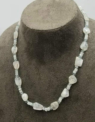 Vintage, 14KYG & 10KYG accents, faceted & nugget moonstone with aquamarine necklace. Hand-knotted with sky blue silk.  18.75