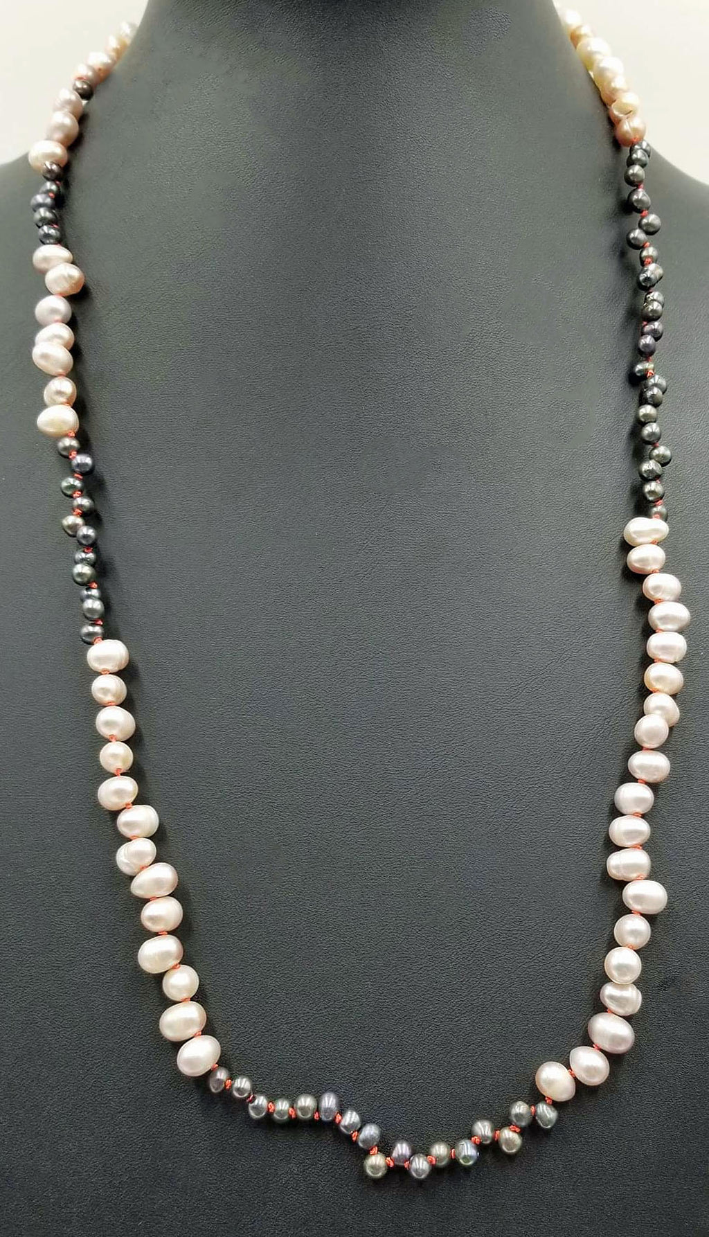 "Math lovers! Baroque, 2-tone, pearl necklace, alternating prime numbers, on hand-knotted crimson silk. 28"" Length."