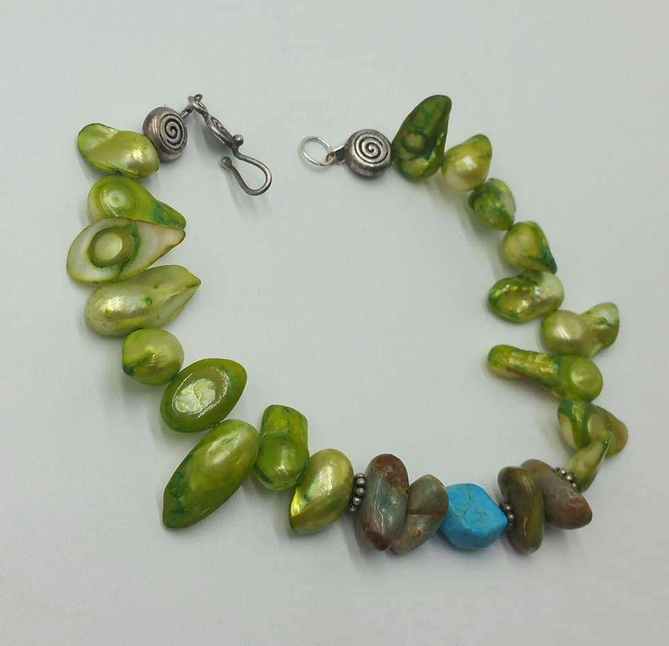 "Green shell, 2-toned turquoise, sterling silver, XL bracelet. unisex. 8.5"" Length."