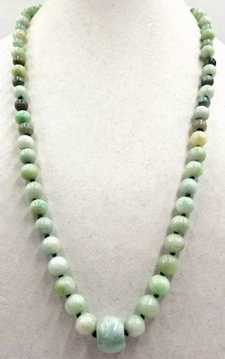 Rope of celadon, apple, & spinach jadeite jade on, individually knotted on green silk.