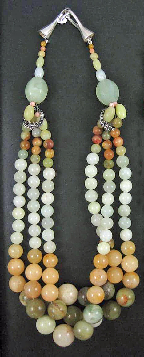Mult-stones in soft colors make a bold statement. Beautiful Shepard's hood clasp.