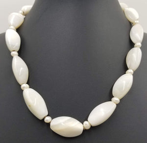 "Vintage, white agate, pearl necklace on chocolate silk with sterling gold wash clasp. 19"" Princess Length."