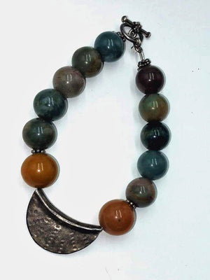 Unisex, bold bracelet. Sterling silver focal with Indian agate,  8.25