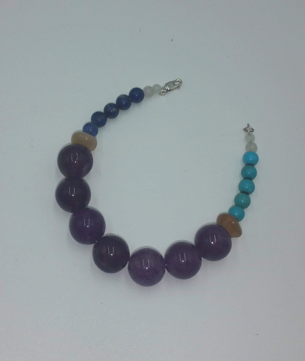 "Sterling, lapis, turquoise, moonstone, sunstone, purple agate bracelet. 7"" length. Vegan"