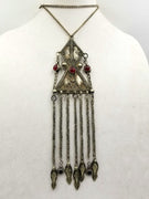 "Ottoman 800 silver, art glass, sterling, onyx accents, 29"" chain."