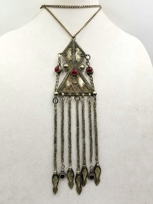 Ottoman 800 silver, art glass, sterling, onyx accents, chain.