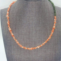 "Unique! Coral & nephrite copper necklace.  16"" Collar/Choker length. Currently at ""Cracked Pots Holiday Shop"""