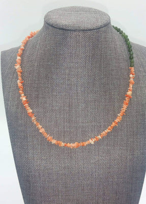 Coral & nephrite copper necklace.