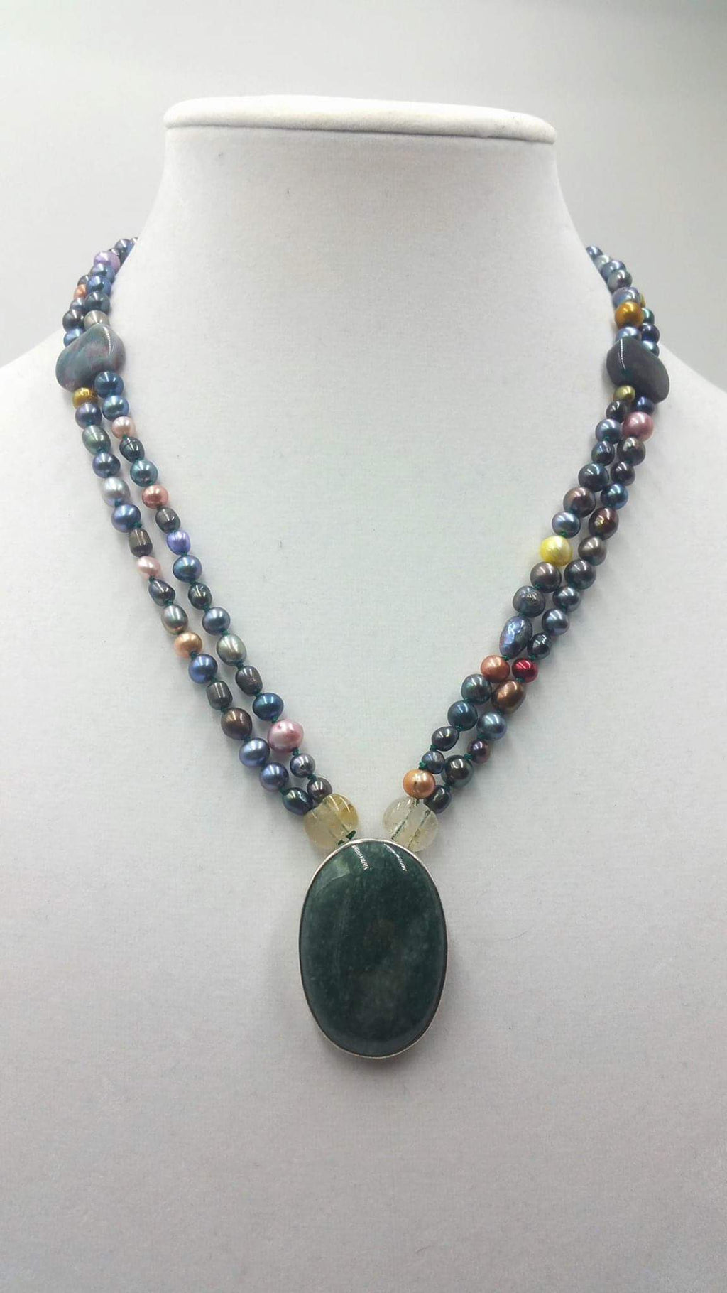 2-strand, multi-colored pearl, agate, citrine, sterling, aventurine, pendant necklace.
