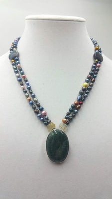 2-strand, multi-colored pearl, agate, citrine, sterling, aventurine, pendant necklace. 20