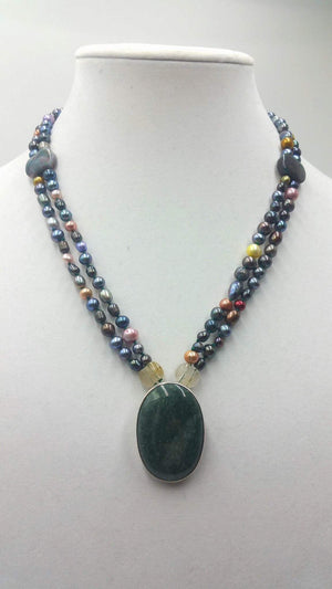 "Past Work. Pearl, agate, citrine, sterling, aventurine, pendant necklace. 20"" Princess length."