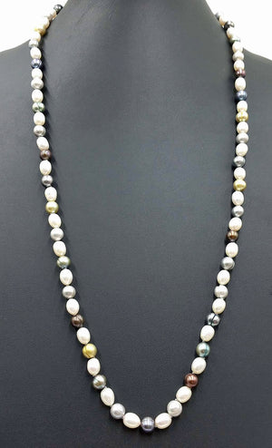 Opera length. Fine, multi-color, pearls, individually knotted on grey silk with 14KYG clasp.