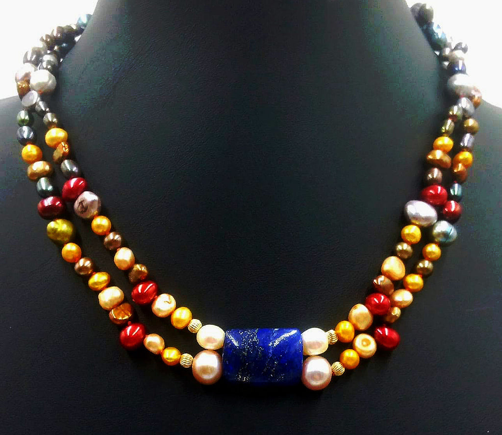Stunning! Ombre, 2-strand, 14KYG, pearl, lapis, focal necklace on crimson silk.