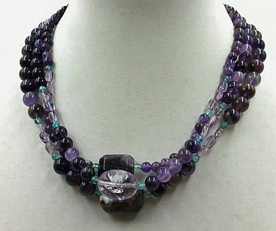 3-strand amethyst, apatite, sterling necklace.