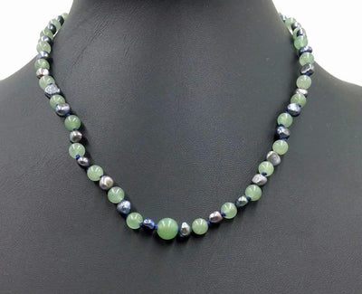 2-tone jadeite & black pearl, sterling silver, necklace on navy silk. 17.5-19