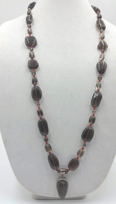 Bold, Unisex, smoky quartz, coral, sterling silver, labradorite, pendant necklace hand-knotted with crimson silk. 36