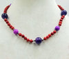 Colorful, Beatutiful & Vibrant, coral, amethyst, quartzite, & sterling silver necklace on scarlet silk.