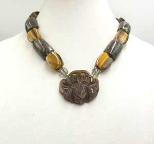 Vegan-wear. Unisex Bold Bat necklace, sterling, fossilized coral, tiger's eye, smoky quartz, nephrite.
