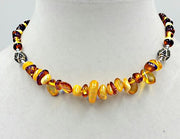 "Beautiful Baltic Amber necklace with marcasite accents & sterling silver toggle clasp. 15"" Choker length."