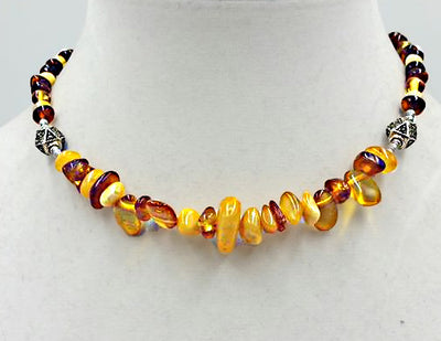 Beautiful Baltic Amber necklace with marcasite accents & sterling silver toggle clasp. 15