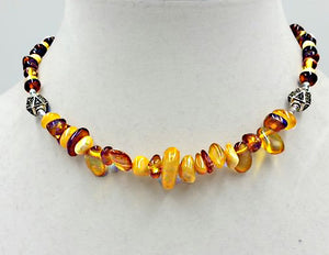 "Baltic Amber necklace with marcasite accents & sterling silver toggle clasp. 15"" Choker length."