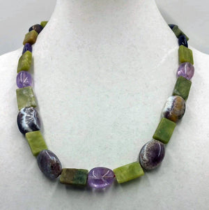 Bold amethyst & nephrite necklace with sterling silver.