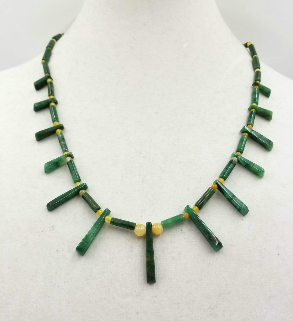 Amazing unisex collar necklace of nephrite & prairie agate, sterling silver.