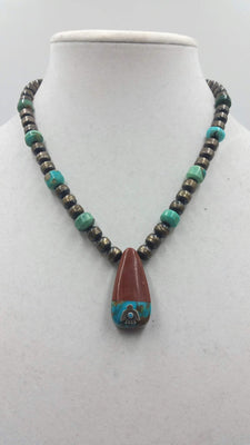 Vintage, sterling, turquoise, pipestone pendant necklace.