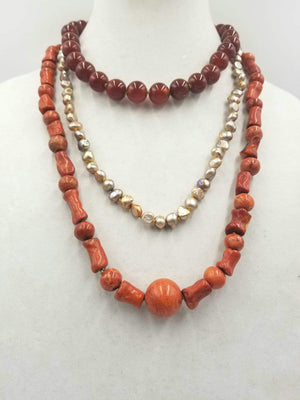 3-strand, sponge coral, pearl, carnelian necklace  with Sterling Silver accents & clasp.