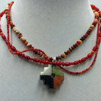 Sterling silver adjustable coral & agate 3-strand, 4 corners pendant necklace.