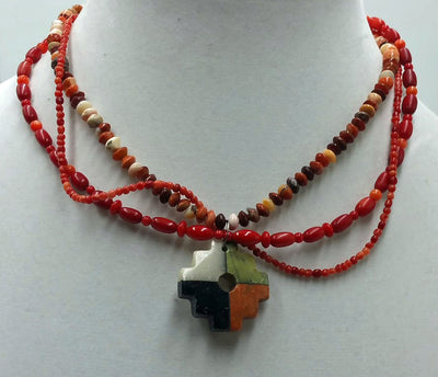 Sterling silver adjustable coral & agate 3-strand, 4 corners pendant necklace. Princess 15.5 in