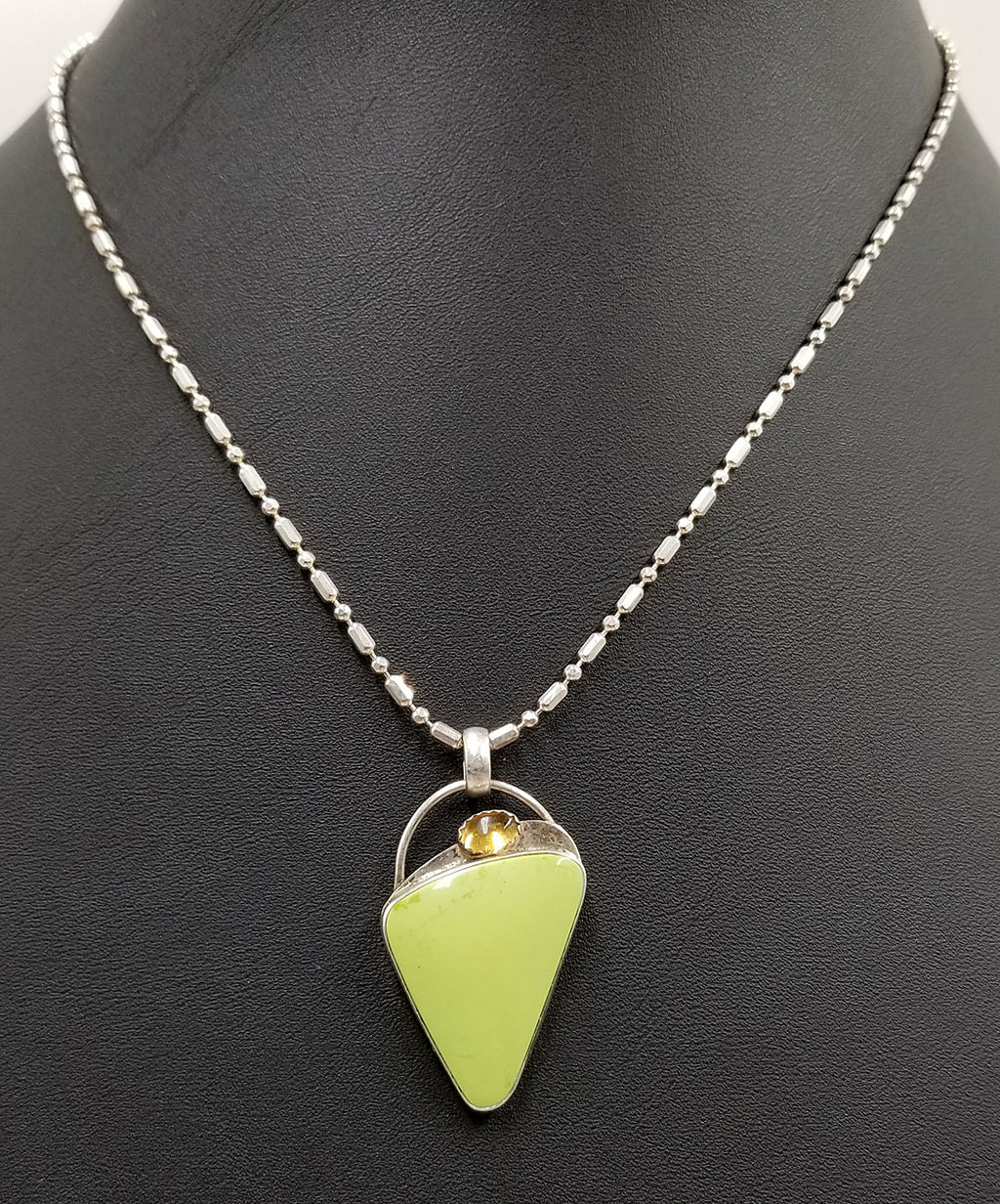 Signed, gaspeite, citrine, sterling silver pendant necklace.