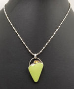 SOLD, Signed, gaspeite, citrine, sterling silver pendant necklace.