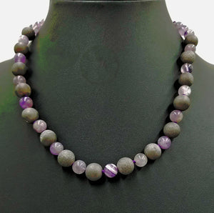 "Adjustable amethyst & Druzy, sterling necklace on purple silk. 18"" Princess length"
