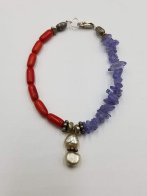 Red coral, tanzanite, & white pearl sterling silver bracelet. 6.5