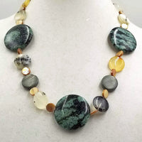 Montana Agate,Mother of Pearl, sterling necklace.