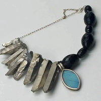 SOLD' Adjustable onyx, quartz, sterling bracelet with butterfly wing pendant. 7.25-9""