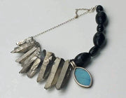 Adjustable onyx, quartz, sterling bracelet with butterfly wing pendant. 7.25-9""