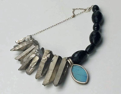 Adjustable onyx, quartz, sterling bracelet with butterfly wing pendant. 7.25-9