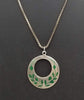 Vintage sterling malachite inlay pendant on long chain.