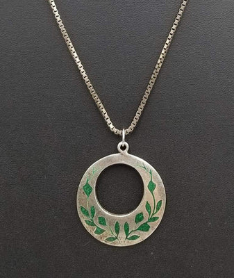 SOLD, Vintage sterling malachite inlay pendant on long chain.