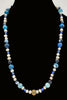 Pearls, blue agate, lapis lazuli, silk, antique sterling silver necklace.