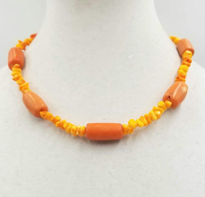 2-tone orange & peach coral, sterling silver toggle necklace. 18.75