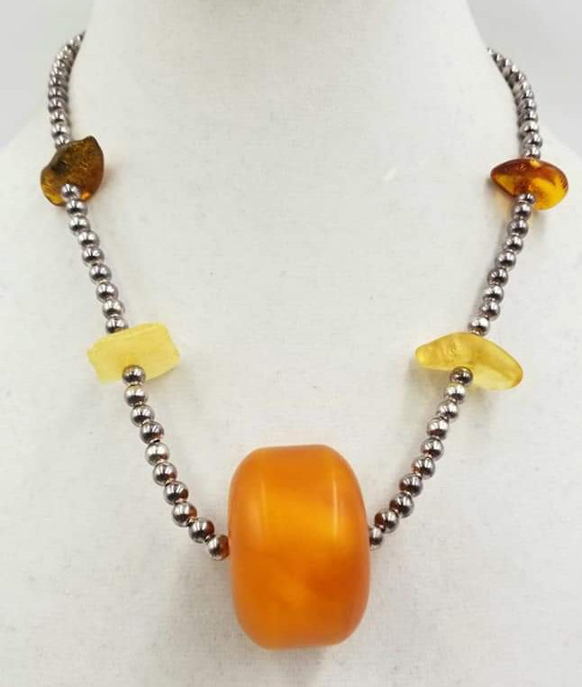 Vintage pure silver beads & Baltic amber necklace with sterling clasp.
