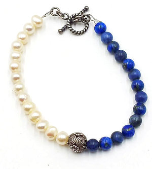 SOLD! Lapis lazuli, pearl, sterling silver toggle bracelet.