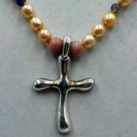 Cross necklace made of pearls & amethyst & sterling silver.