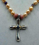SOLD, Cross necklace made of pearls & amethyst & sterling silver.