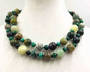 "Bold, African turquoise, malachite, & aventurine ncklace with 14KYG clasp.  40"" Rope length."