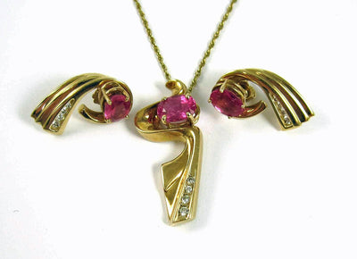 Stunning Bird of Paradise necklace & earrings Set. Tourmaline, Diamonds, & 14KYG.